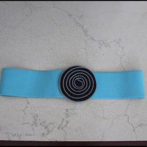 Blue & black zipper flower button belt